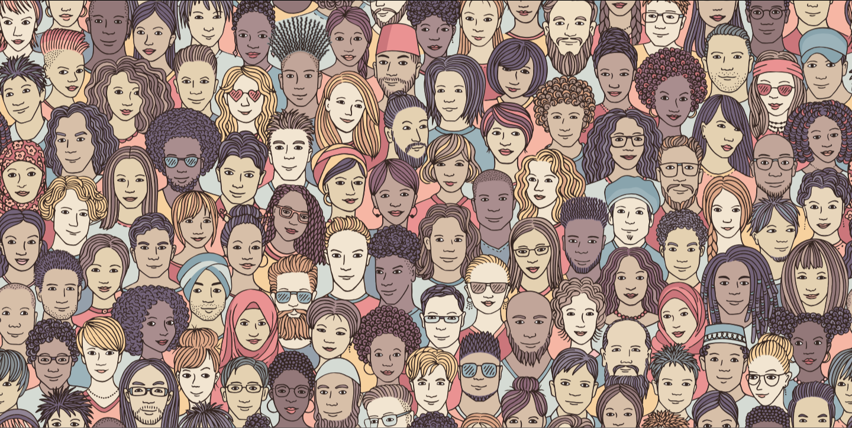 Ilustración con diversidad de rostros